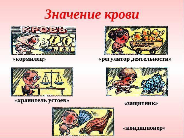 Значение крови «кормилец» «регулятор деятельности» «защитник» «кондиционер» «...
