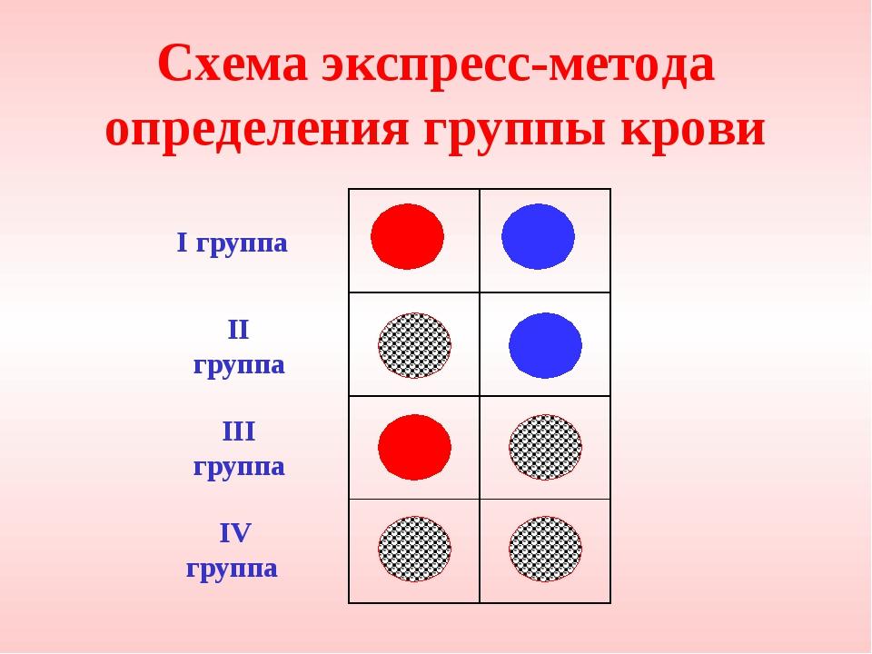 Схема экспресс-метода определения группы крови