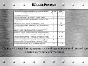Шкала Рихтера Шкала магнитуд Рихтера является наиболее популярной шкалой для