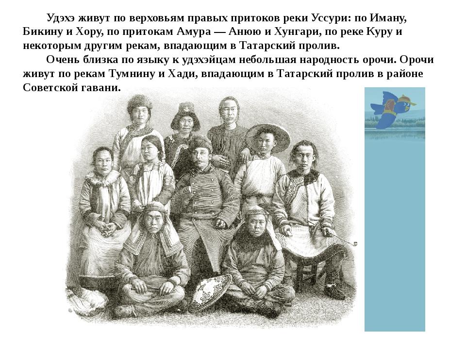 Удэхэ живут по верховьям правых притоков реки Уссури: по Иману, Бикину и Хор...