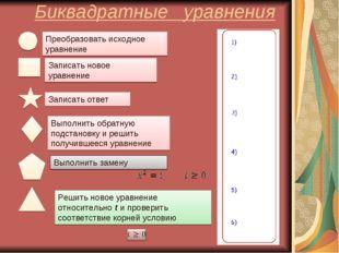 Биквадратные уравнения Преобразовать исходное уравнение Записать новое уравне