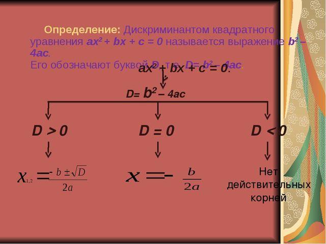 Определение: Дискриминантом квадратного уравнения ах2 + bх + с = 0 называется...