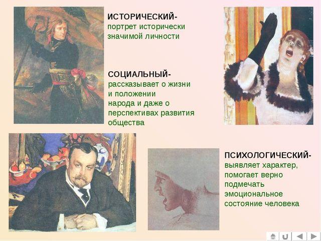 ИСТОРИЧЕСКИЙ- портрет исторически значимой личности СОЦИАЛЬНЫЙ- рассказывает...
