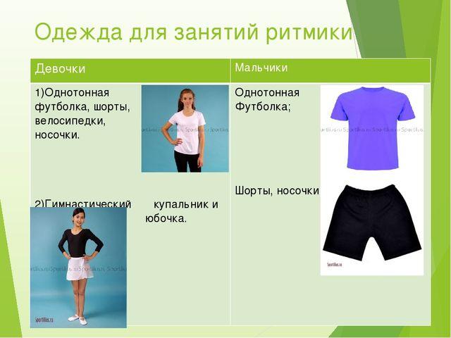 Одежда для занятий ритмики Девочки Мальчики 1)Однотонная футболка, шорты, вел...