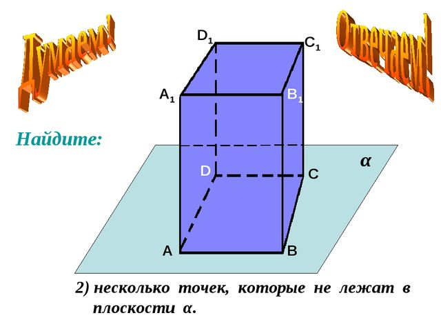 А А1 В В1 С С1 D D1 2) несколько точек, которые не лежат в плоскости α. α Най...