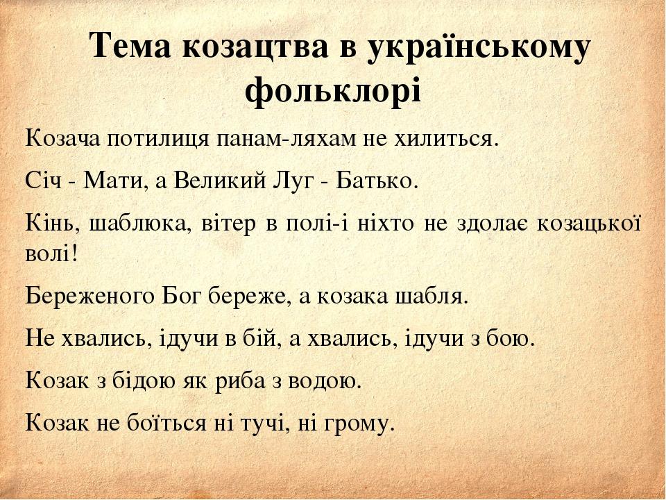 Тема козацтва в українському фольклорі Козача потилиця панам-ляхам не хилить...