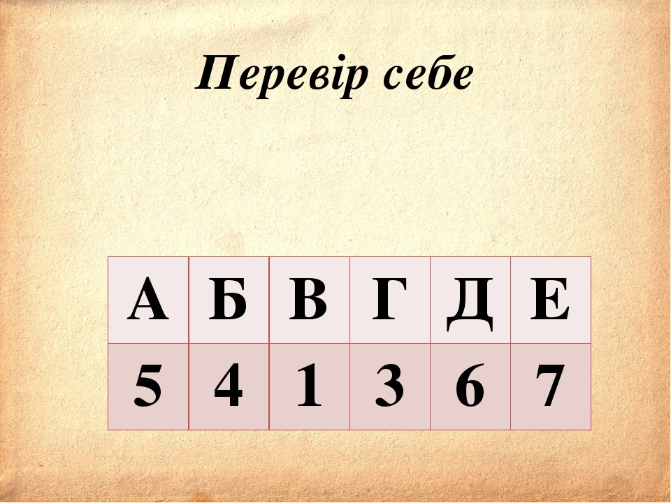 Перевір себе А Б В Г Д Е 5 4 1 3 6 7