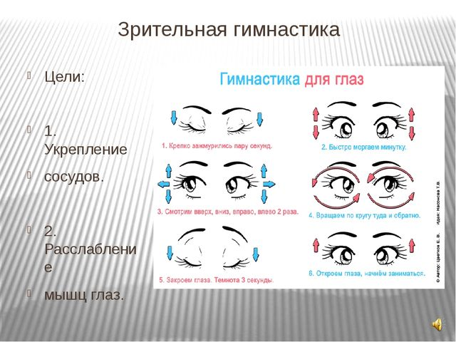 Зрительная гимнастика Цели: 1. Укрепление сосудов. 2. Расслабление мышц глаз.