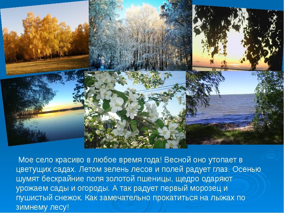 Мое село красиво в любое время года! Весной оно утопает в цветущих садах. Ле...