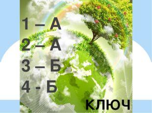 КЛЮЧ 1 – А 2 – А 3 – Б 4 - Б