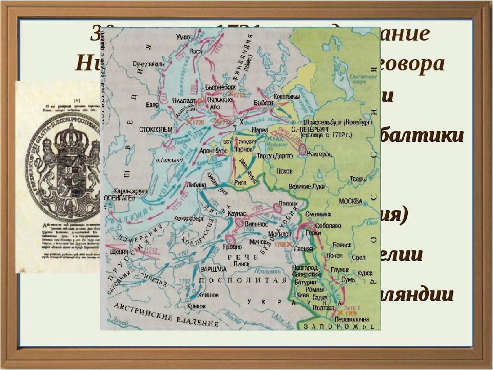 к России + земли Прибалтики (Эстляндия, Лифляндия, Ингерманландия) + часть Ка...