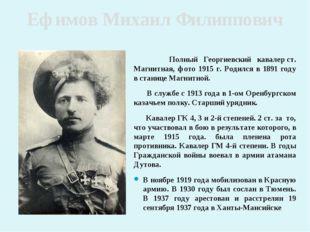 Ефимов Михаил Филиппович Полный Георгиевский кавалерст. Магнитная, фото 1915