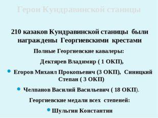 210 казаков Кундравинской станицы были награждены Георгиевскими крестами Полн