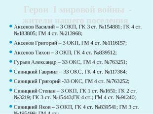 Аксенов Василий – 3 ОКП, ГК 3 ст. №154881; ГК 4 ст. №183805; ГМ 4 ст. №213968