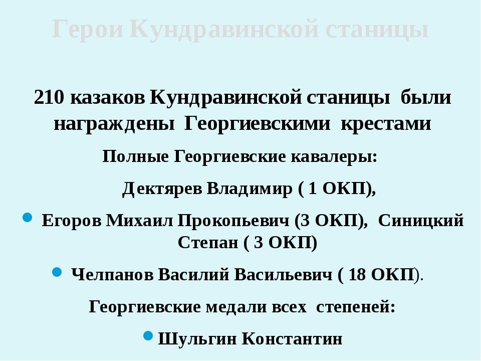 210 казаков Кундравинской станицы были награждены Георгиевскими крестами Полн...
