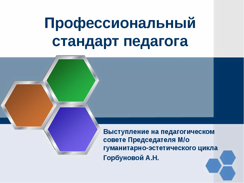 Профессиональный стандарт педагога Выступление на педагогическом совете Предс...