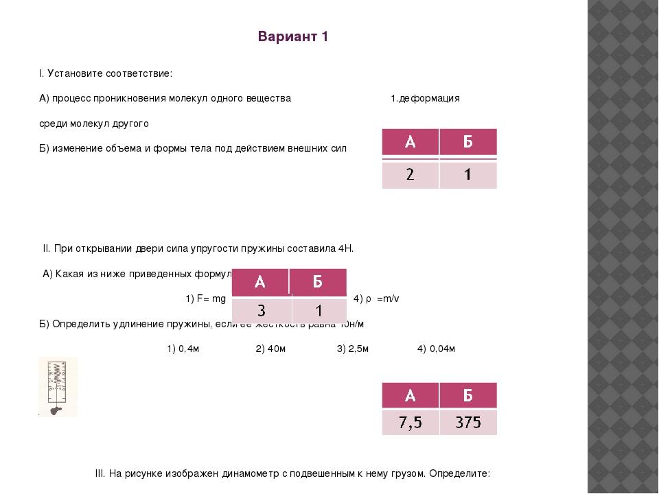 Вариант 1 I. Установите соответствие: А) процесс проникновения молекул одного...
