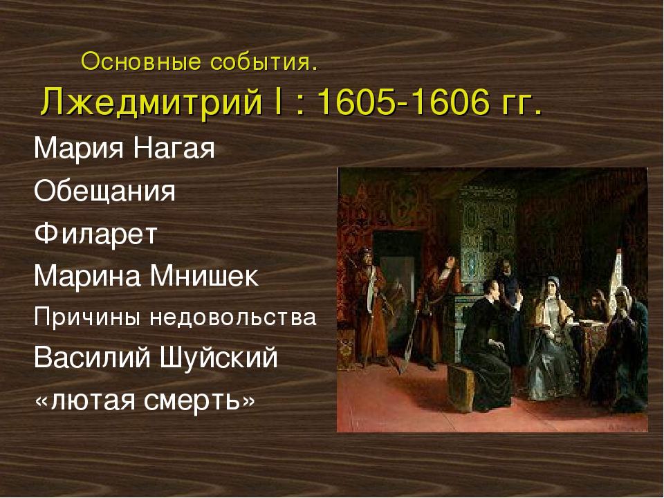 Основные события. Лжедмитрий I : 1605-1606 гг. Мария Нагая Обещания Филарет...