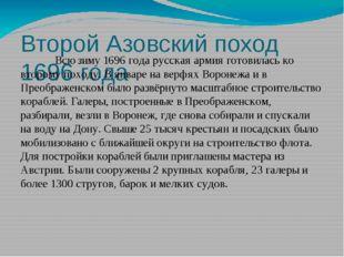 Второй Азовский поход 1696 года Всю зиму 1696 года русская армия готовилась