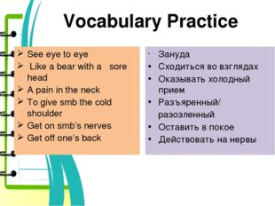 Vocabulary Practice See eye to eye Like a bear with a sore head A pain in the