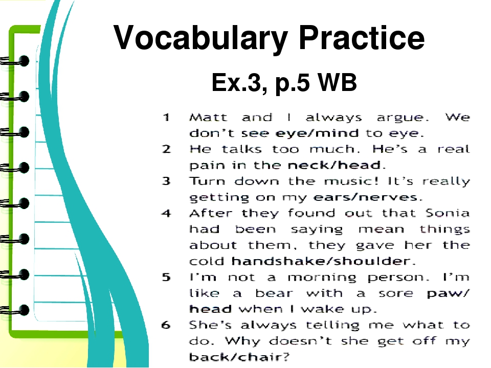 Vocabulary Practice Ex.3, p.5 WB