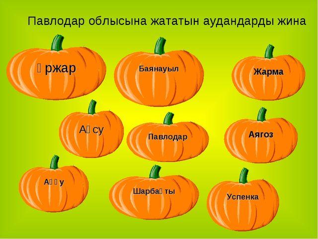 Павлодар облысына жататын аудандарды жина