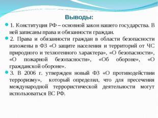 Выводы: 1. Конституция РФ – основной закон нашего государства. В ней записаны