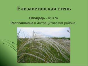 Елизаветовская степь Площадь - 610 га. Расположена в Антрацитовском районе.