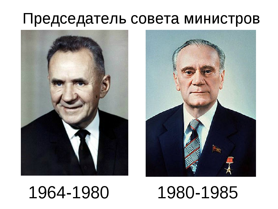 Председатель совета министров 1964-1980 1980-1985