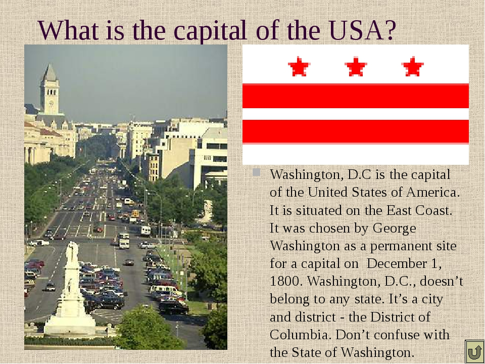 What is the capital of the USA? Washington, D.C is the capital of the United...