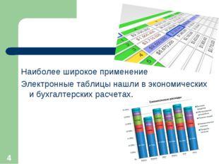 Наиболее широкое применение Электронные таблицы нашли в экономических и бухга