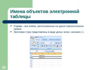 * Имена объектов электронной таблицы Строка – все ячейки, расположенные на од