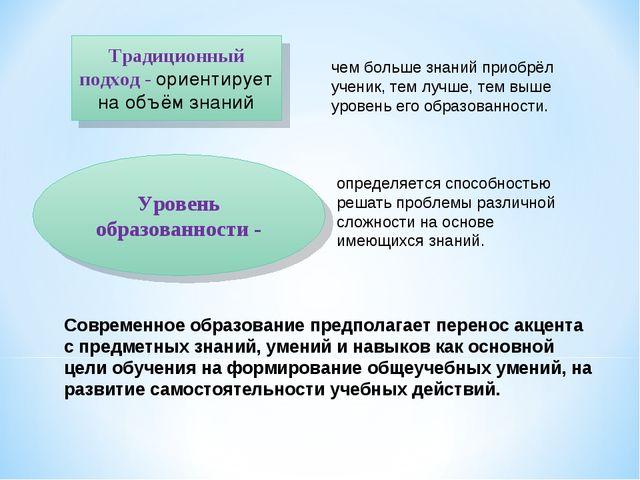 Уровень образованности - Традиционный подход - ориентирует на объём знаний че...