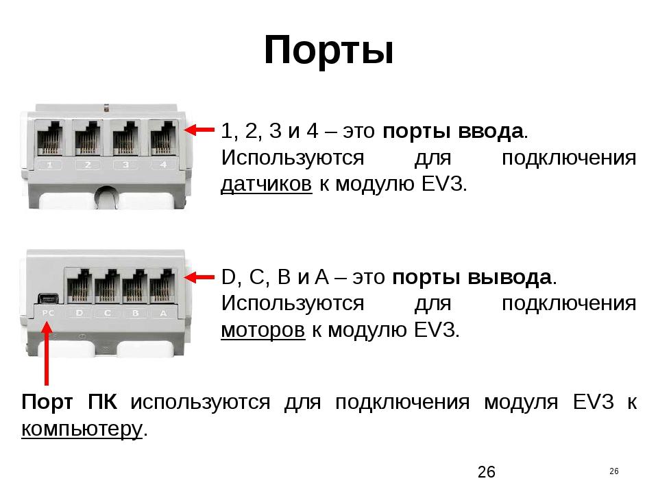 Порты 1, 2, 3 и 4 – это порты ввода. Используются для подключения датчиков к...