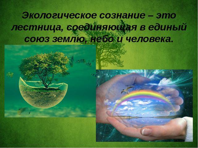 Экологическое сознание – это лестница, соединяющая в единый союз землю, небо...