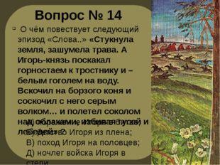 Вопрос № 14 О чём повествует следующий эпизод «Слова..» «Стукнула земля, зашу