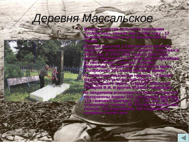 Деревня Массальское Входит в состав сельского поселения «Успенское», населен...