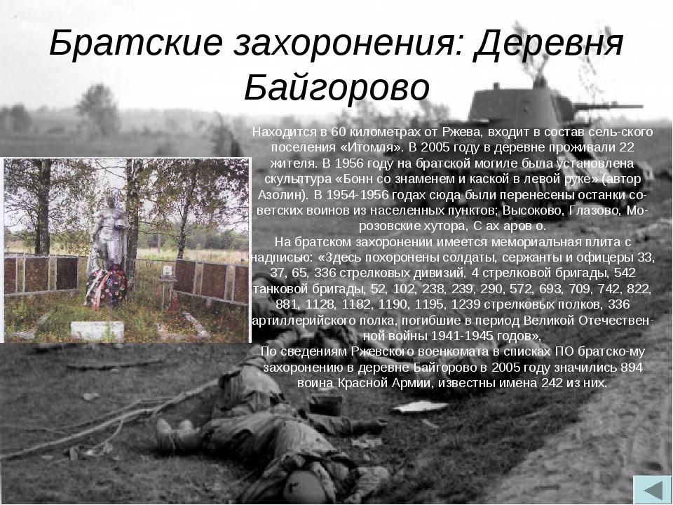 Братские захоронения: Деревня Байгорово Находится в 60 километрах от Ржева, в...