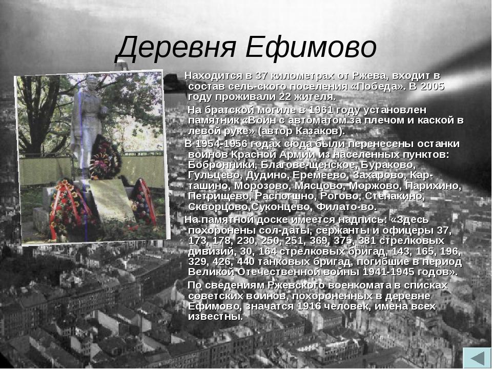 Деревня Ефимово Находится в 37 километрах от Ржева, входит в состав сельског...