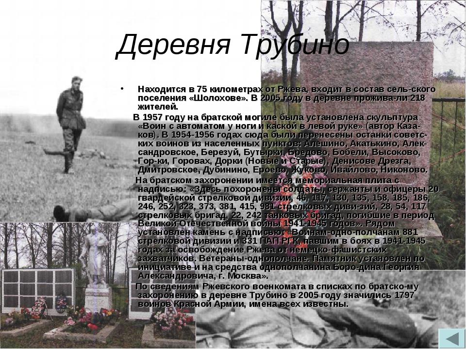 Деревня Трубино Находится в 75 километрах от Ржева, входит в состав сельског...