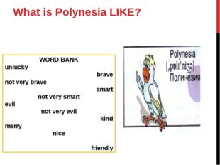 What is Polynesia LIKE? WORD BANK unlucky brave not very brave smart not very
