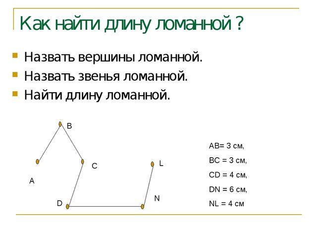 Как найти длину ломанной ? Назвать вершины ломанной. Назвать звенья ломанной....