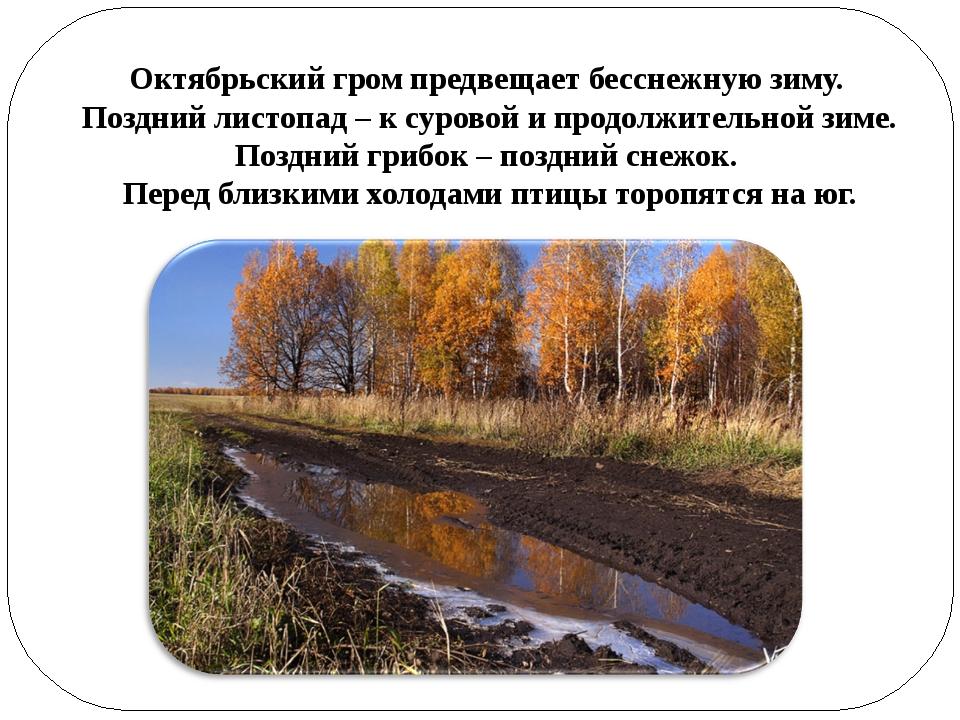 Октябрьский гром предвещает бесснежную зиму. Поздний листопад – к суровой и...