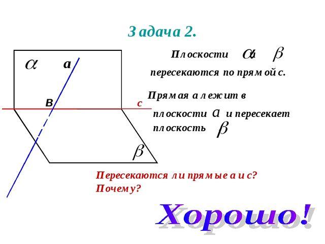 Задача 2. Плоскости и пересекаются по прямой с. Прямая а лежит в плоскости а...