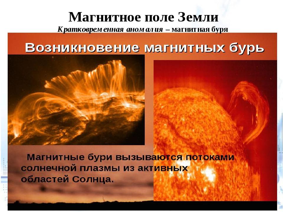 Магнитное поле Земли Кратковременная аномалия – магнитная буря