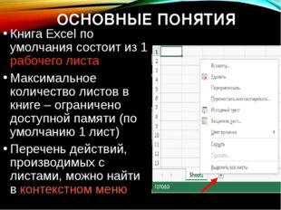 ОСНОВНЫЕ ПОНЯТИЯ Книга Excel по умолчания состоит из 1 рабочего листа Максима