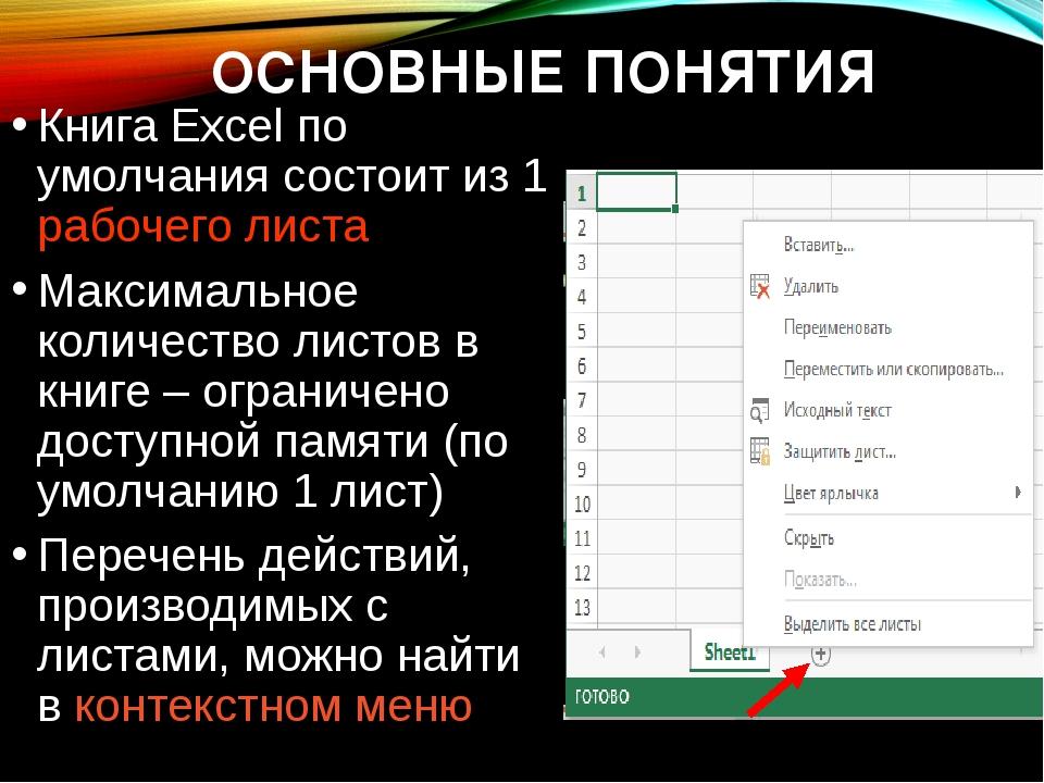 ОСНОВНЫЕ ПОНЯТИЯ Книга Excel по умолчания состоит из 1 рабочего листа Максима...