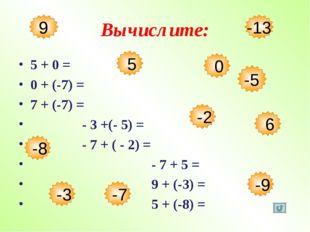 Вычислите: 5 + 0 = 0 + (-7) = 7 + (-7) = - 3 +(- 5) = - 7 + ( - 2) = - 7 + 5