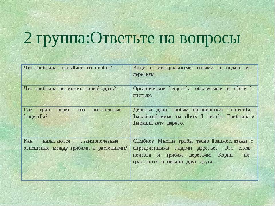 2 группа:Ответьте на вопросы ᅟЧто ᅟгрибница ᅟʙсасыʙает ᅟиз ᅟпочʙы? ᅟᅟ...