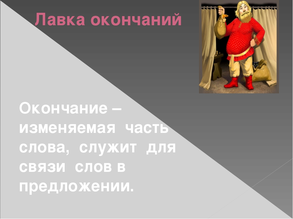 Лавка окончаний Окончание – изменяемая часть слова, служит для связи слов в п...